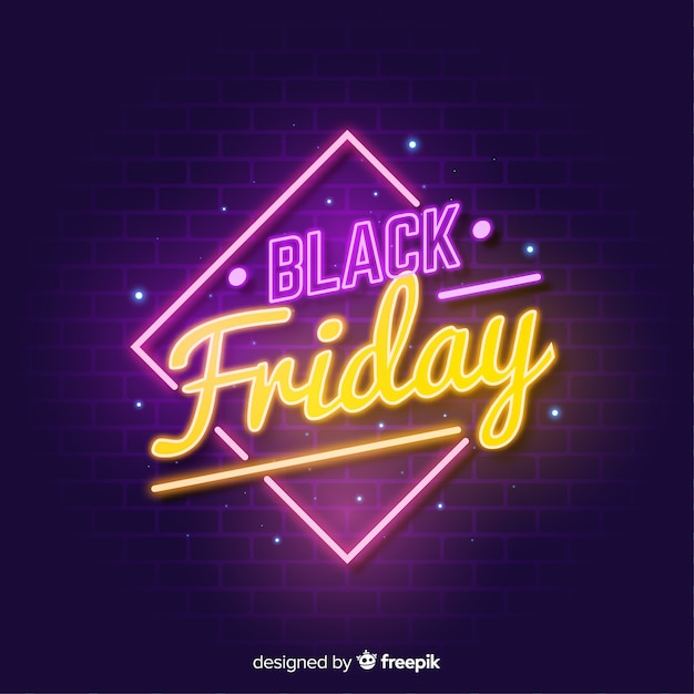 Black friday sale neon sign  background Free Vector