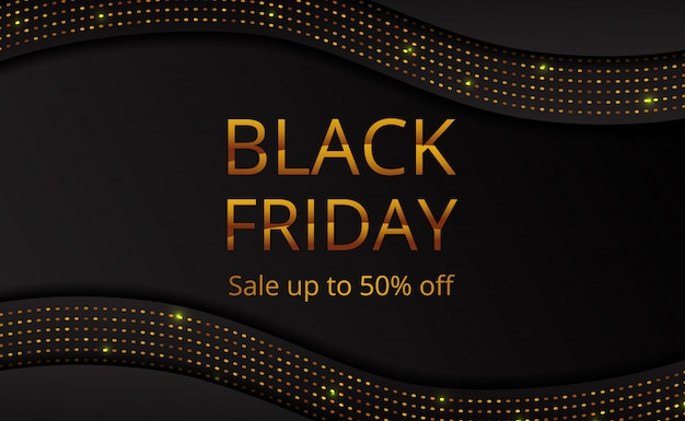 Black friday sale offer banner poster template with golden dot glitter Premium Vector