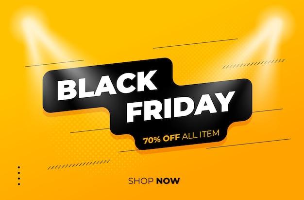 Черная пятница распродажа на желтом фоне с прожектором Premium векторы
