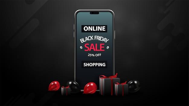 Черная пятница, распродажа в интернете, скидки до 25%, черный баннер со скидкой с красными и черными воздушными шарами, подарки и смартфон с предложением на экране Premium векторы