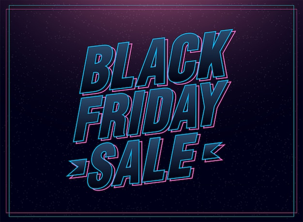 Black friday sale pink and blue italic letters Premium Vector