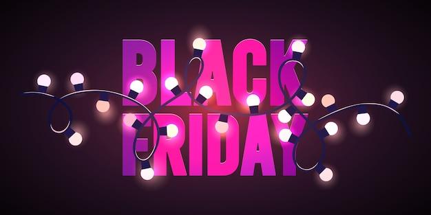 Black friday sale pink lights flyer template Premium Vector