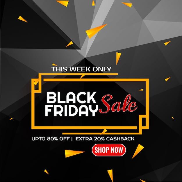 Sfondo di poligono vendita venerdì nero con coriandoli Vettore gratuito
