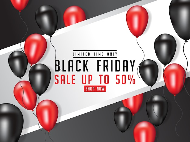 Black friday sale poster illustration with shiny balloons Premium Vector