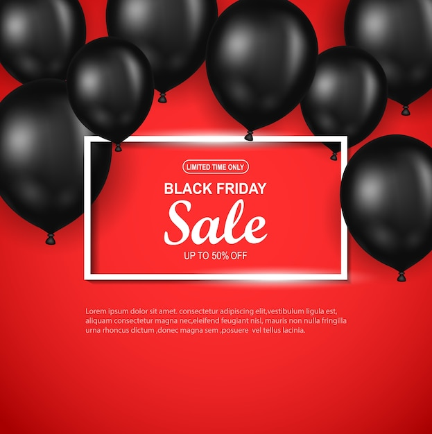 Black friday sale poster with black balloon on red background. Premium Vector