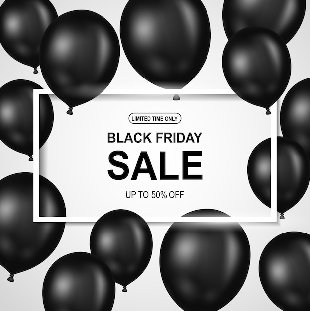 Black friday sale poster with black balloon. Premium Vector