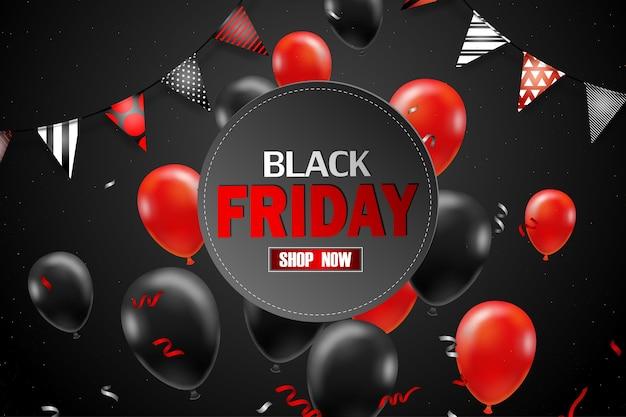小売、ショッピング、またはブラックフライデープロモーションスタイル用の黒い風船のブラックフライデーセールポスター 無料ベクター