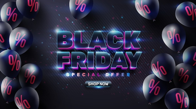 Black friday sale poster with black balloons for retail,shopping or black friday promotion in sparkling and neon light style.creative glowing social media banner design. Premium Vector