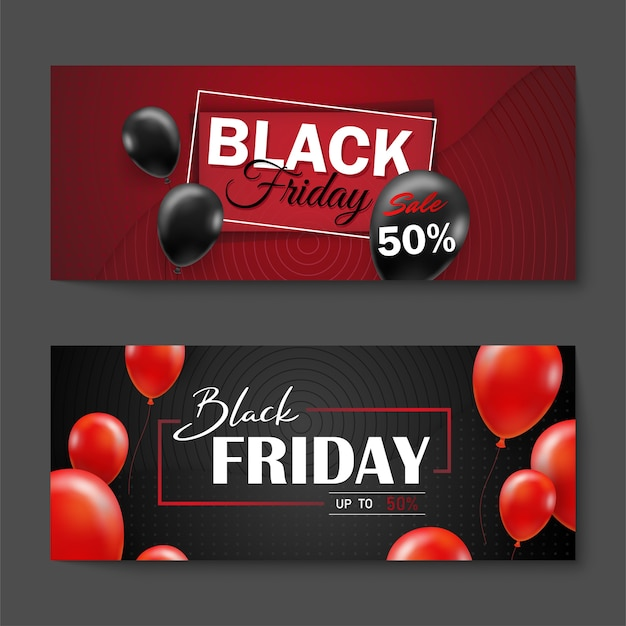 Free Vector Black Friday Sale Poster With Black Balloons For Retail Shopping Or Black Friday Promotion Style