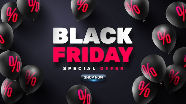Black friday sale poster with black balloons for retail Premium Vector