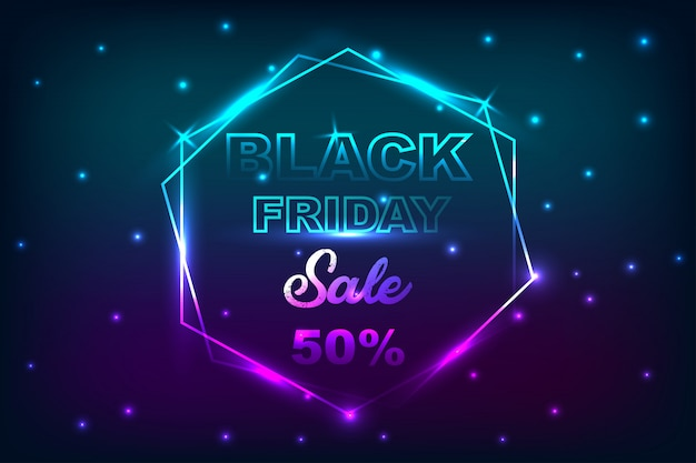 Black friday sale poster with neon banner background. Premium Vector