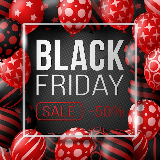Black friday sale poster with shiny balloons on black background with glass square frame.  illustration. Premium Vector