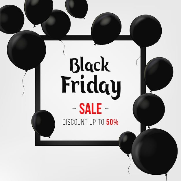 Black Friday Sale Poster With Shiny Balloons On Black