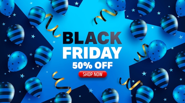 Black friday sale promotion poster or banner with balloons concept Premium Vector