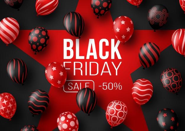ブラックフライデーセールプロモーションポスターまたはバルーン付きバナー。黒と赤のカラースタイルで特別オファー50%オフセール。ブラックフライデーのプロモーションとショッピングのテンプレート Premiumベクター
