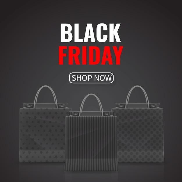 ブラックフライデーセール。白い背景で隔離のハンドルと現実的な紙の買い物袋。 Premiumベクター