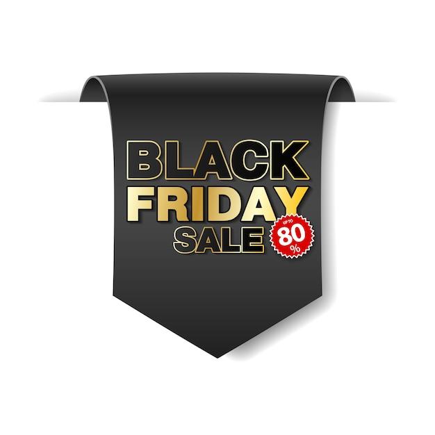 Черная пятница распродажа прокрутки бумажный баннер. черная бумажная лента на белом фоне. реалистичная этикетка продажи. Premium векторы