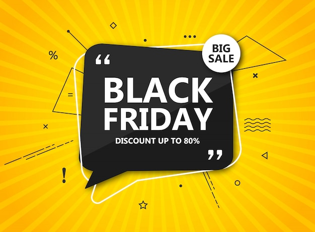 Black friday sale, shopping poster. seasonal discount banner - black speech bubble on radial yellow background. design template for advertising shopping, flyer, closeout on thanksgiving day Premium Vector
