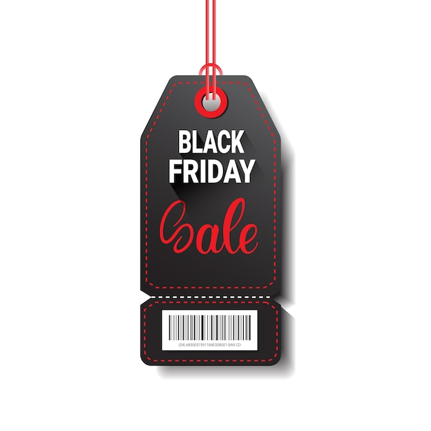 Black friday sale shopping tag with bar code isolated on white background Premium Vector