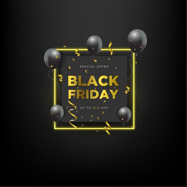 ブラックフライデーセールの特別オファー、ブラックバルーンと長方形のネオン効果 Premiumベクター