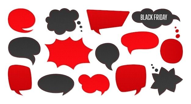Черная пятница продажа набор речи пузырь. шаблон рекламных патчей записки продаж, продвижения. полутоновый точечный фон, черный и красный. коллекция комиксов 80-90-х годов. Premium векторы