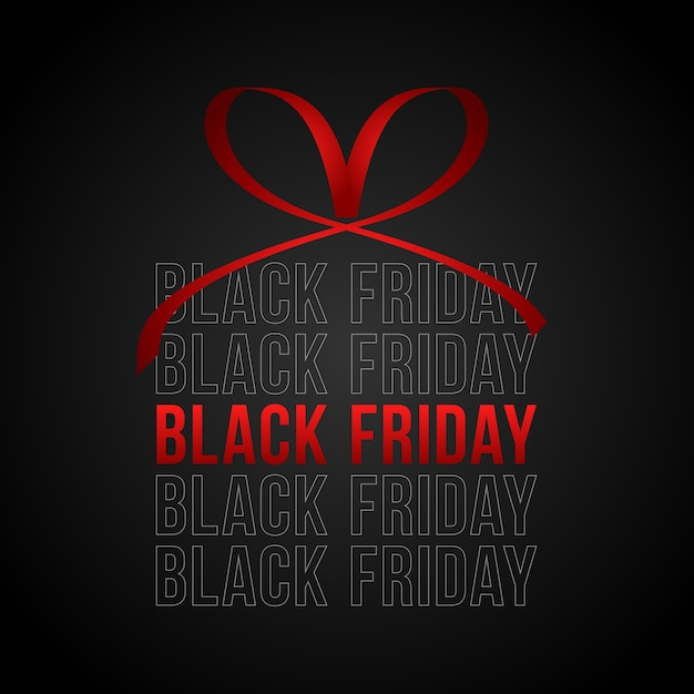 Premium Vector Black Friday Sale Square Banner In Form Of Christmas Gift With Red Ribbon And Bow