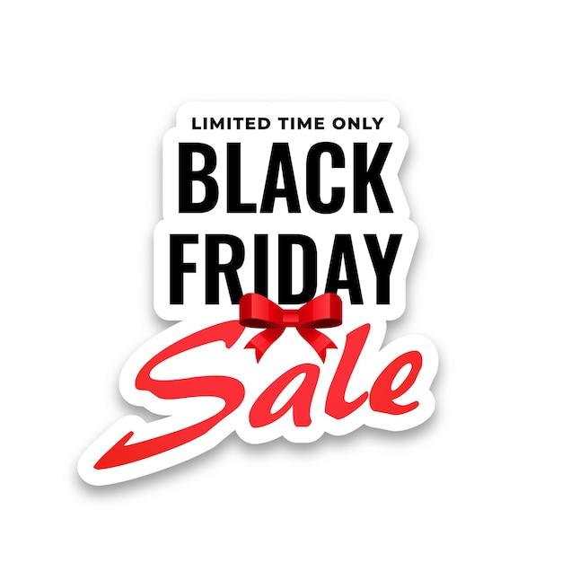 Adesivo di vendita venerdì nero su sfondo bianco Vettore gratuito