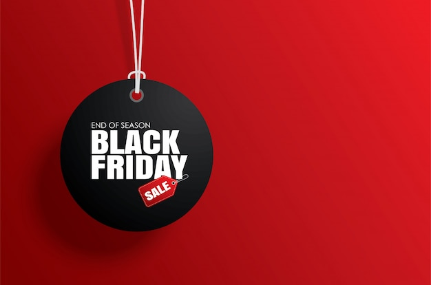 Black friday sale tag circle and the rope hanging on red Premium Vector