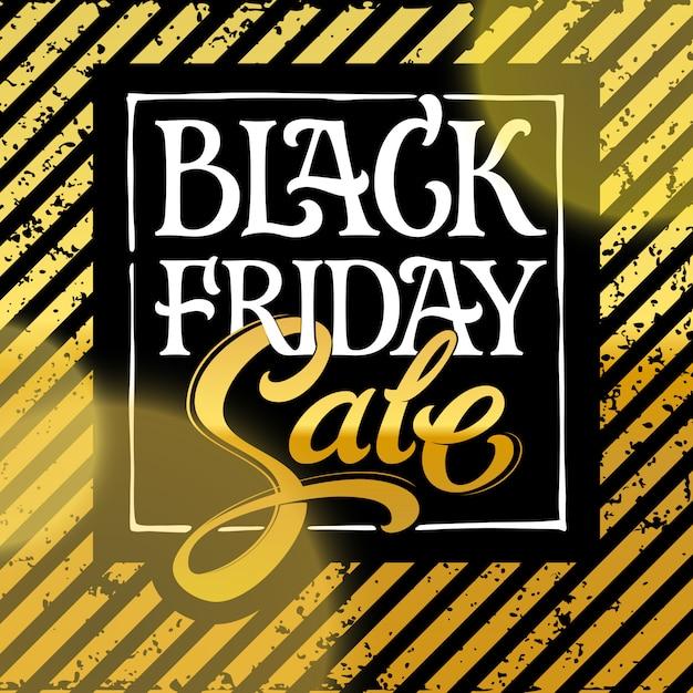 ブラックフライデーセールタイポグラフィ。白い文字黒い金曜日と黒い背景に金の販売。バナー、広告、パンフレットのイラスト。手レタリング。 Premiumベクター