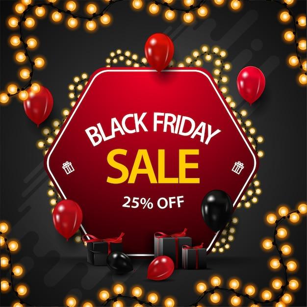 Распродажа в черную пятницу, скидка до 25%, баннер со скидкой в виде красного ромба, обернутый гирляндой, украшенный воздушными шарами и подарками Premium векторы