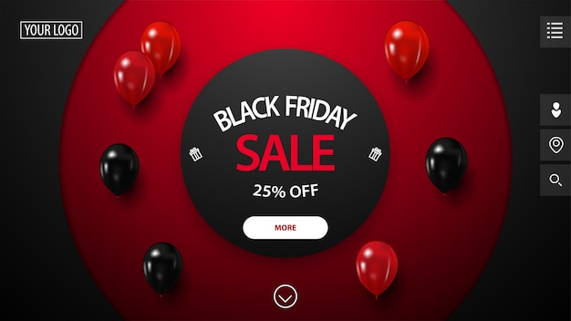 Распродажа в черную пятницу, скидка до 25%, красно-черный баннер со скидкой с большими декоративными кругами на фоне, красными и черными воздушными шарами и кнопкой. скидочный баннер для сайта Premium векторы
