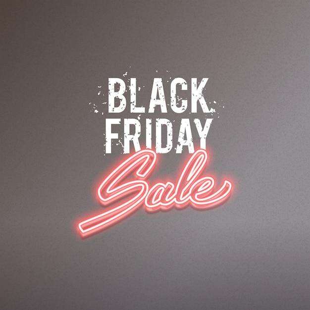 Black friday sale vector advertisement, glowing neon realistic text design Premium Vector