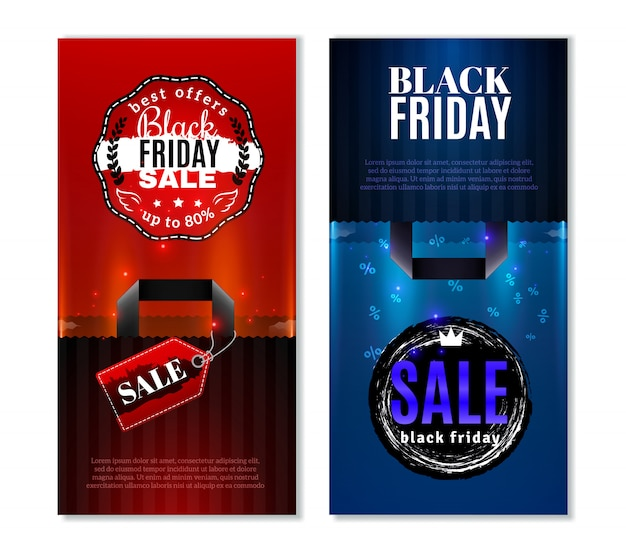 Black friday sale vertical banners Free Vector
