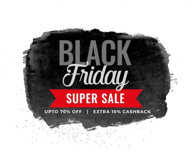Black friday sale watercolor background design Free Vector