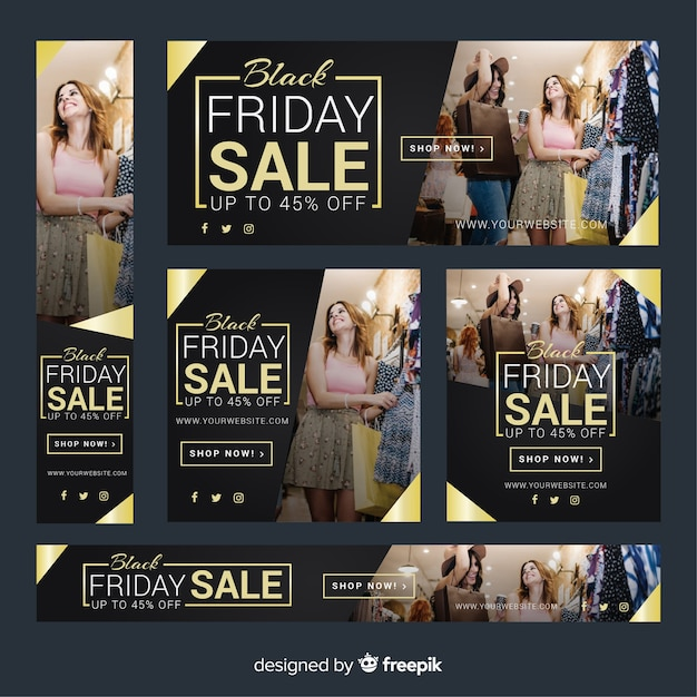 Black friday sale web banner collection with girls shopping Free Vector