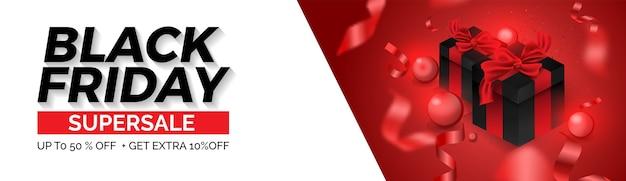 ブラックフライデーセールウェブバナーレイアウトデザインテンプレート。赤と白の風船とギフトボックスのデザイン。 Premiumベクター