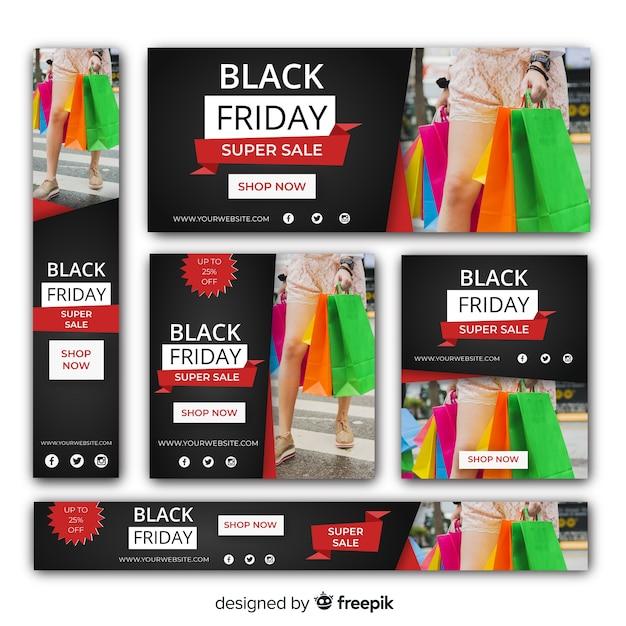 Black friday sale web banner template set Free Vector