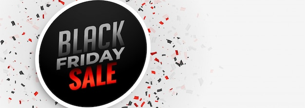 Black friday sale white banner template Free Vector