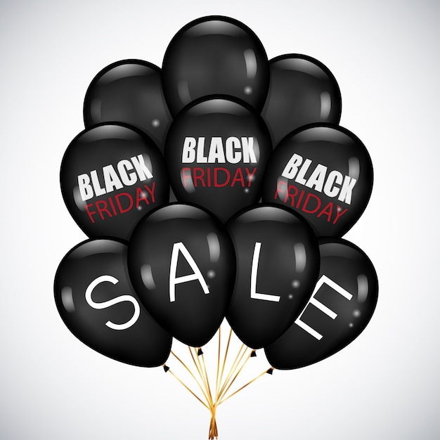 Black friday sale with realistic black balloons Premium Vector