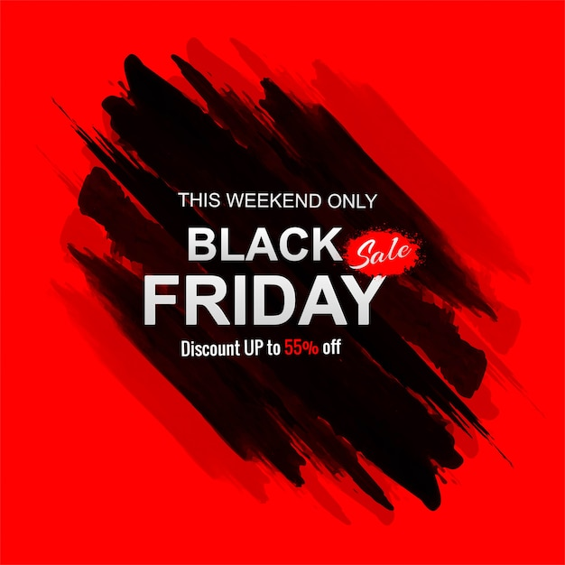 Black friday sale with stroke banner Free Vector