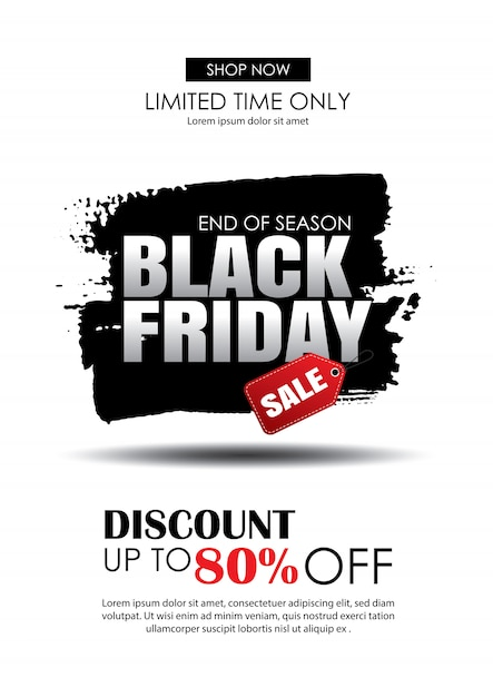 Black friday sale with text on brush stroke template Premium Vector