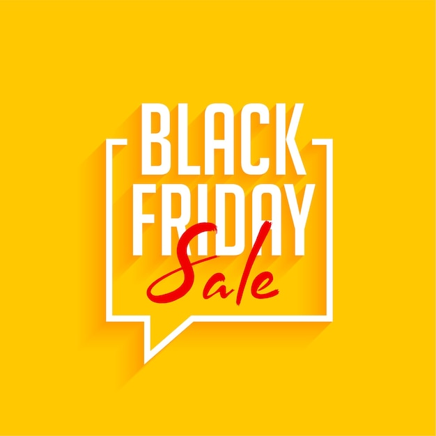 Black friday sale yellow background with speech bubble Free Vector