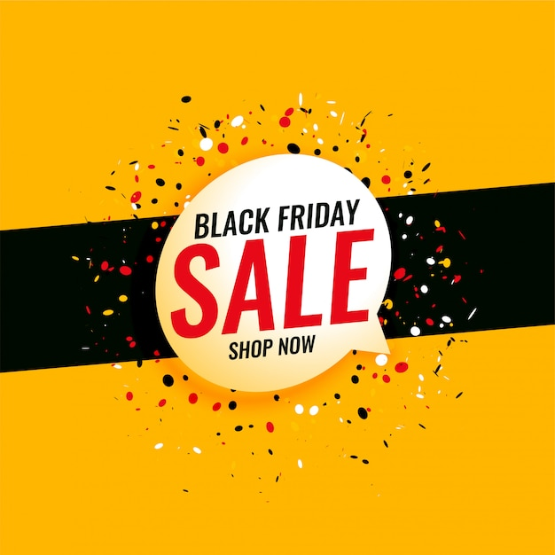 Black friday sale yellow banner with confetti Free Vector