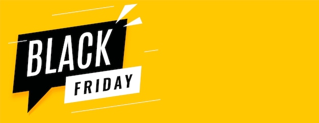 Black friday sale yellow banner with text space Free Vector