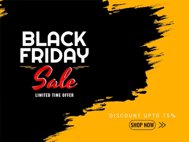 Black friday sale yellow and black background Free Vector