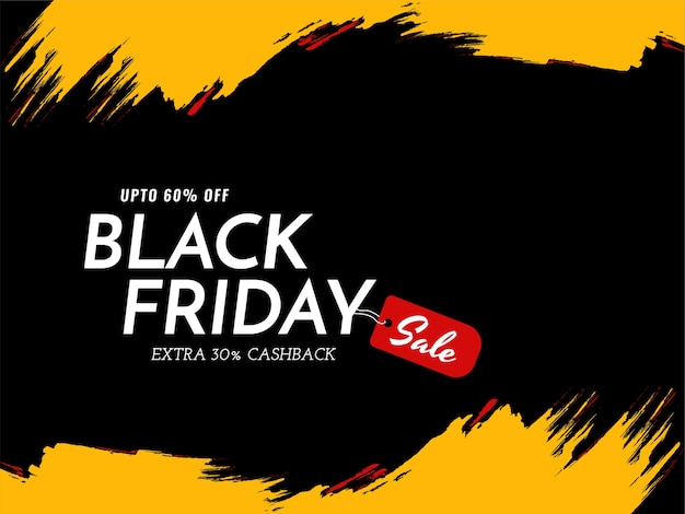 Black friday sale yellow brush stroke background Free Vector