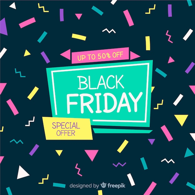 Black friday sales background template memphis style Free Vector