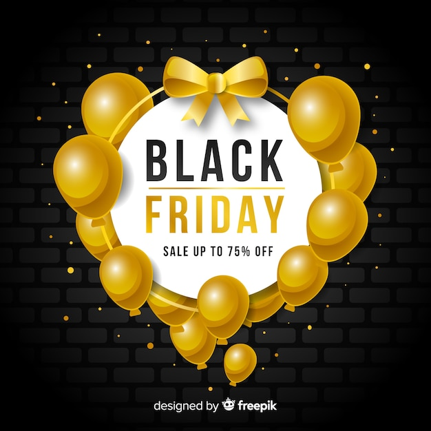 Black friday sales background with balloons Free Vector