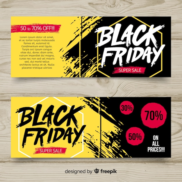Black friday sales banner templates Free Vector