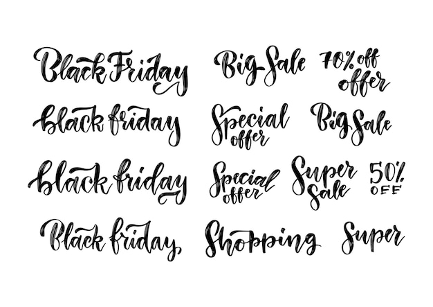 검은 금요일 판매 브러시 글자 비문 세트. 광고용 수제 타이포그래피 라벨. 광고 배너에 대 한 빈티지 그림입니다. 프리미엄 벡터